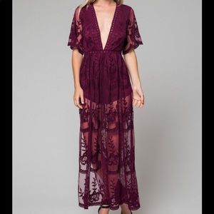 NWT Honey Punch maxi lace dress.